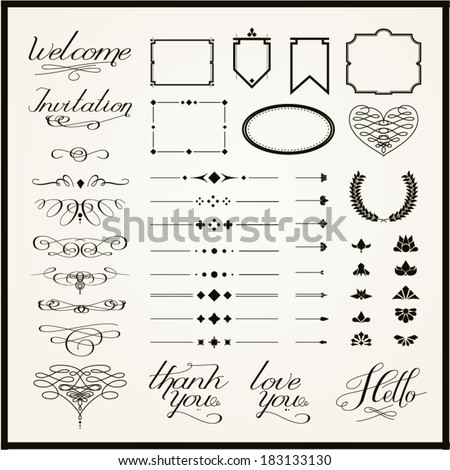 Calligraphy elements, borders, decorations and lettering. Vector set.