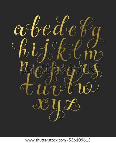 Calligraphy font vector handwritten classic cursive stock vector calligraphy font vector handwritten classic cursive script golden letters isolated on black background altavistaventures Image collections