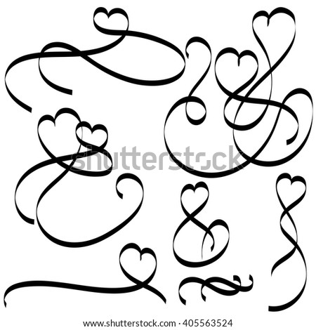 Calligraphy hearts. Set beautifully stranded hearts of tape with a florid ornament. Vector illustration. Book and card Calligraphy - stock vector