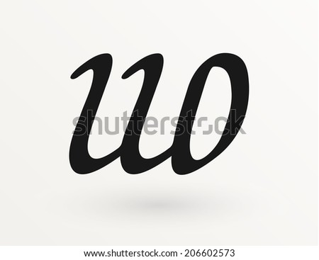 Calligraphy Letter U And O Vector Logo Design Template Concept Icon