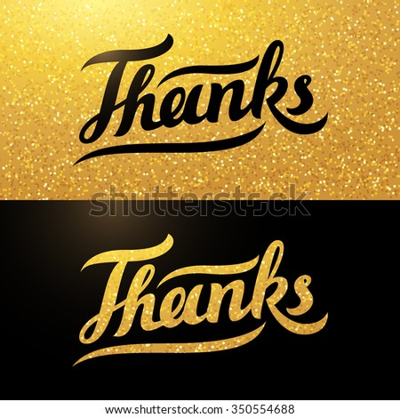 "Calligraphy postcard with handwritten word ""Thanks"" on sparkling gold background"