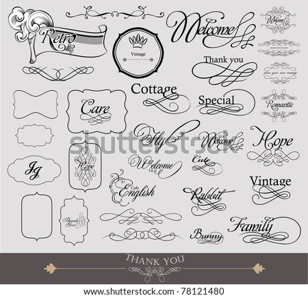calligraphy set and tags for wedding - stock vector