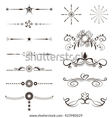 Calligraphy Swirl Line Graphic Designs Vector Setswirl Border