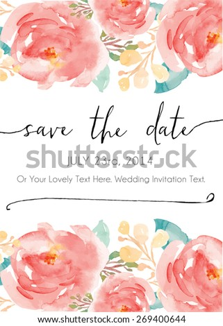 Calligraphy Vector Save The Date. Watercolor Vector Invitation. Watercolor Flowers Invitation Vector. Modern Calligraphy. Save The Date Calligraphy - stock vector