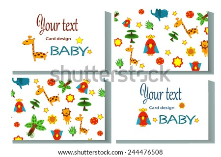 Calling card. Name card with african animals for kids - stock vector