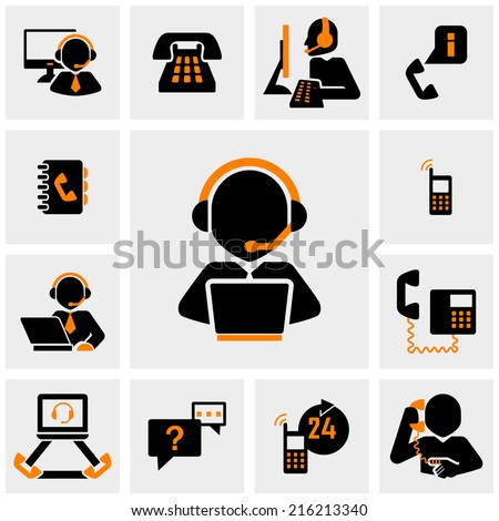 Calling vector icons set on gray  - stock vector