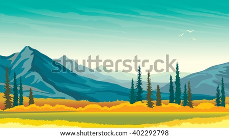 Calm autumn panorama - green meadow with yellow grass and blue mountains. Vector wild landscape. Beautiful nature. - stock vector
