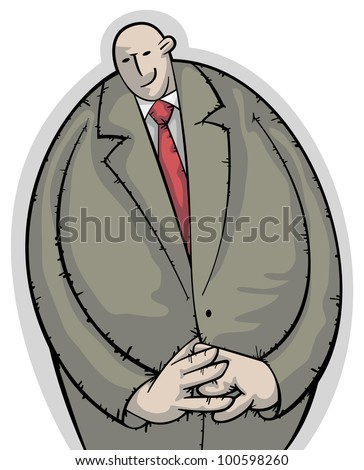 Calm businessman standing with a shy smile slightly embarrassed - stock vector