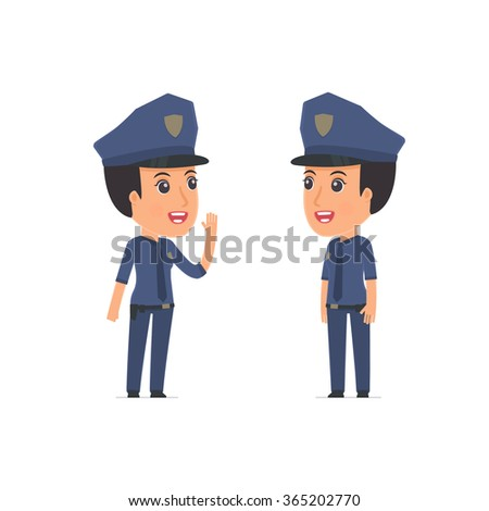 Calm Character Constabulary tells news to his friend. Poses for interaction with other characters from this series