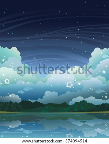Calm lake and mountains on a night starry sky with clouds. Natural summer vector illustration.
