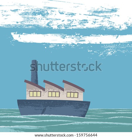 Calm sea. A boat (which is a company) sails quiet in a calm sea. Metaphor for a company that moves forward despite the difficulties. EPS8 Illustration. - stock vector