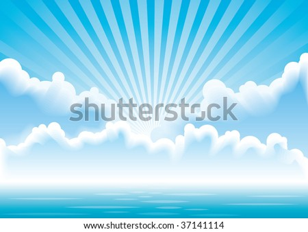 Calm sea with clouds and sun rays - stock vector