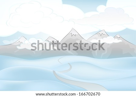 calm winter mountain outdoors with snowy hills and pathway vector illustration
