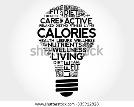 CALORIES bulb word cloud, health concept - stock vector