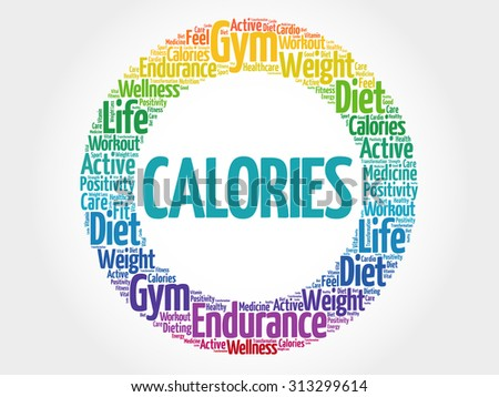 CALORIES circle stamp word cloud, fitness, sport, health concept - stock vector