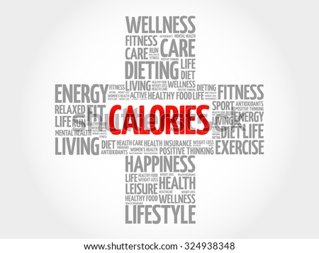 CALORIES word cloud, health cross concept - stock vector