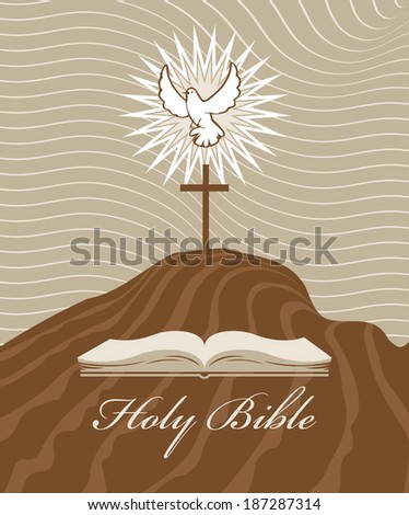 Calvary cross with a dove and bible - stock vector