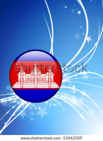 Cambodia Flag Button on Abstract Light Background Original Illustration