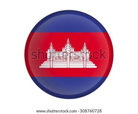 Cambodia flag Glossy Button - Vector  - stock vector