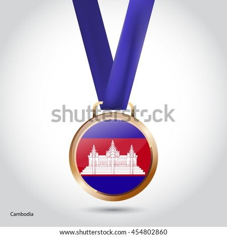 Cambodia Flag in Bronze Medal. Olympic Game Bronze Medal. Vector Illustration - stock vector