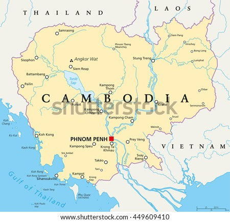 Cambodia Political Map With Capital Phnom Penh National Borders Important Cities Rivers And
