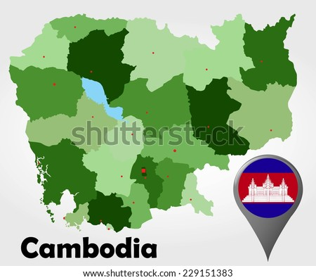 Cambodia Political Map Green Shades Map Stock Vector 229151383