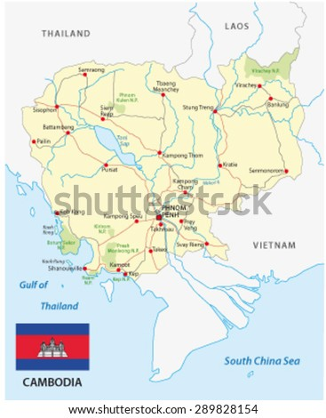 cambodia road map with flag - stock vector