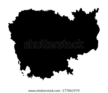Cambodia vector mas silhouette isolated on white background.High detailed vector map - Cambodia illustration. - stock vector