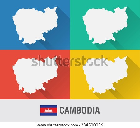 Cambodia world map flat style 4 stock vector 234500056 shutterstock cambodia world map in flat style with 4 colors modern map design gumiabroncs Image collections