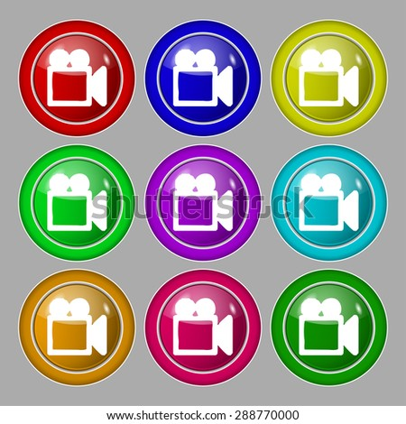 camcorder icon sign. symbol on nine round colourful buttons. Vector illustration - stock vector