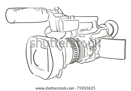 camcorder outlines - stock vector