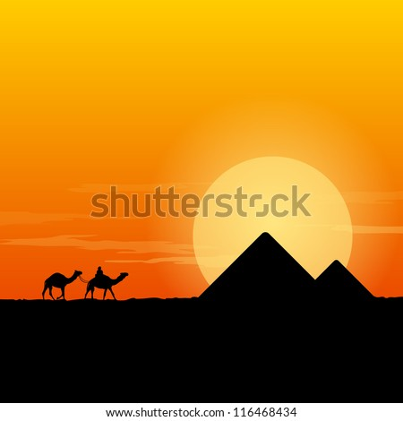 Camel Caravan and Pyramid - Desert scenery with pyramids and camels at sun dusk - stock vector