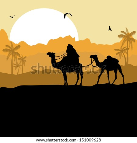 Camel caravan in wild desert mountain nature landscape background ...