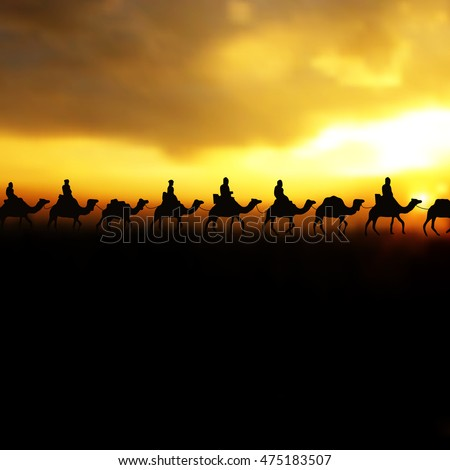 Camel caravan on beautiful Sunrise. Editable Vector illustration for islamic background