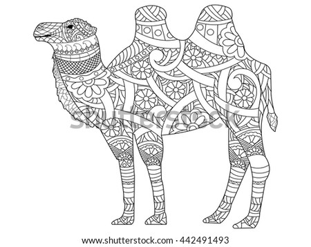 Camel Coloring Book For Adults Vector Illustration Anti Stress Adult Zentangle