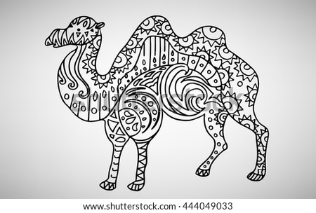Camel. Hand-drawn with ethnic pattern. Coloring page - isolated on a white background. Zendoodle patterns. Vector illustration.