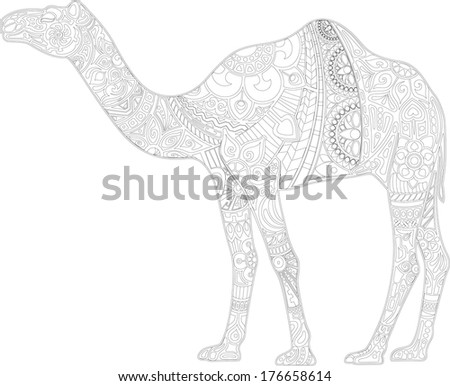 Camel with ornament (contour) - stock vector