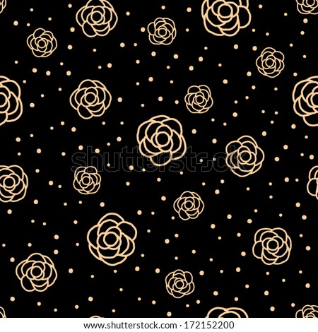 Camellia Flowers Seamless Pattern - stock vector