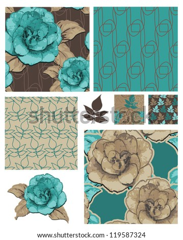 Camellia Japonica Vector Floral Seamless Patterns and Icons.  Use as fills for digital paper, wallpaper or print onto fabric for unique home furnishings. - stock vector
