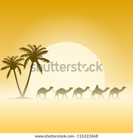 Camels and Palms - Palm trees and camel caravan illustration with sun - stock vector