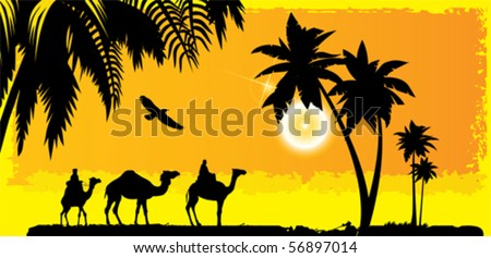 Camels on the desert. All elements and textures are individual objects. Vector illustration scale to any size.