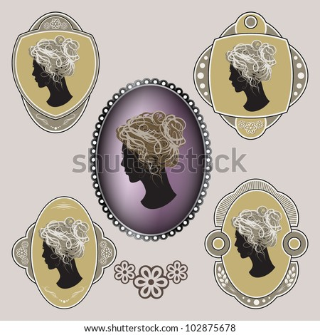 Cameo. Ornate labels with female profile. Grouped for easy editing. Perfect for labels or stickers for soap, powder, eau de toilette, cologne and etc. - stock vector