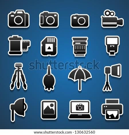 camera accessories sticker - stock vector