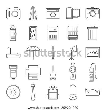 Camera and accessories icons set vector illustration on white background - stock vector