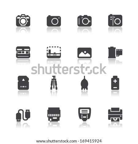 Camera and Camera Accessories Icons with White Background - stock vector