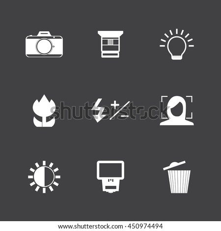 Camera and camera function icon set. - stock vector