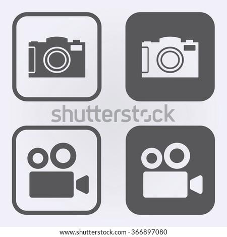 Camera and cinema camera icon set . Vector illustration - stock vector