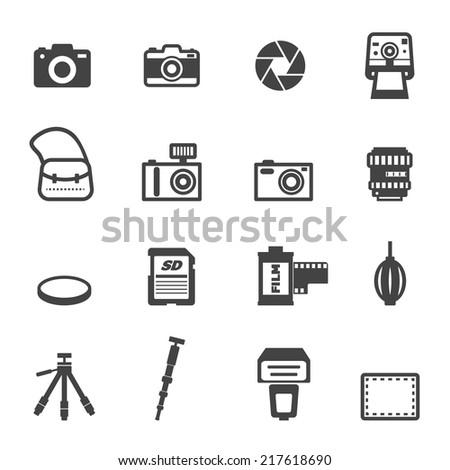 camera and equipment icons, mono vector symbols - stock vector