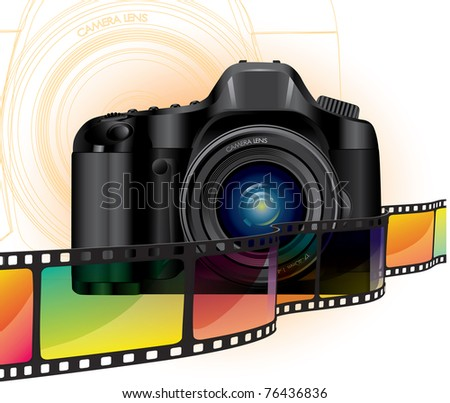 camera and film - stock vector