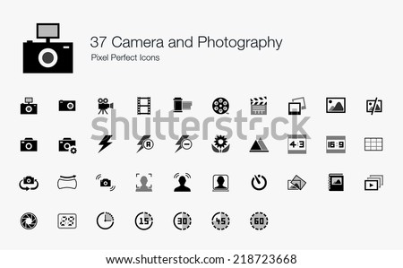 Camera and Photography Pixel Perfect Icons - stock vector